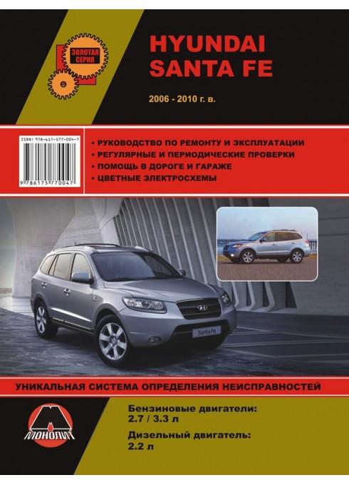 Книга: Hyundai Santa Fe (Хюндай Санта Фе). Руководство по ремонту, инструкция по эксплуатации. Модели с 2006 по 2010 год выпуска, оборудованные бензиновыми и дизельными двигателями