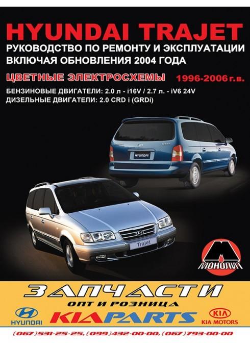 Книга: Hyundai Trajet (Хюндай Траджет). Руководство по ремонту, инструкция по эксплуатации. Модели с 1996 по 2006 год выпуска, оборудованные бензиновыми и дизельными двигателями